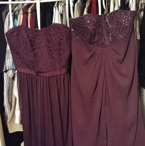 David's Bridal plum bridesmaid dresses